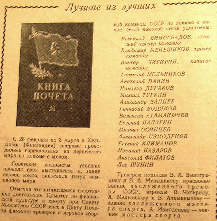 Фамилии 15 чемпионов мира были занесены в Книгу Почёта Комитета по физической культуре и спорту при Совете Министров СССР