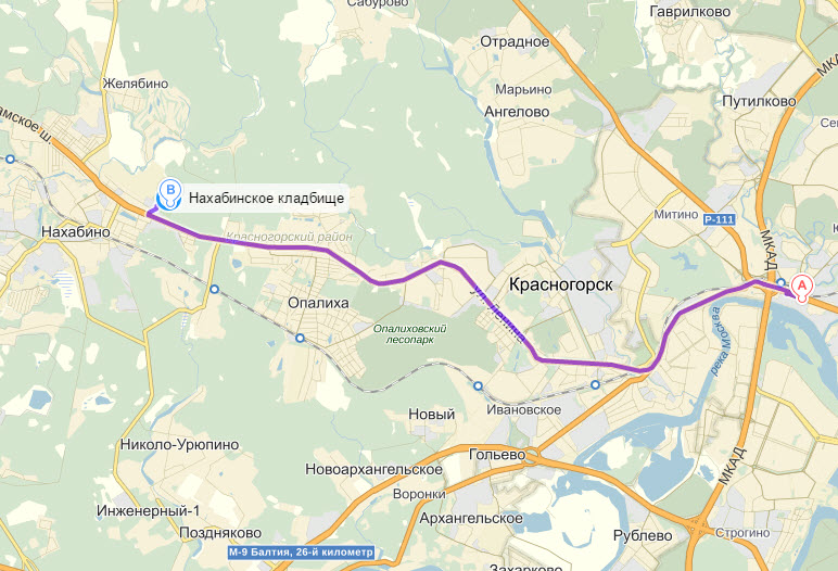 План проезда на Нахабинское кладбище