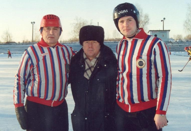 Валерий Круглов с московскими арбитрами Виктором Глебовым и Виталием Степановым
